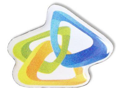 Pin bedruckt - buntes Logo